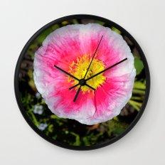 Pink & White Poppy Wall Clock