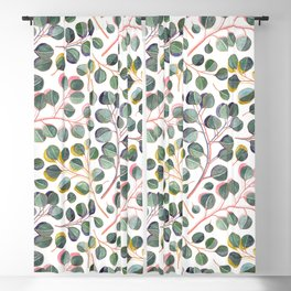 Simple Silver Dollar Eucalyptus Leaves Blackout Curtain