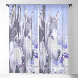 2 Siberian Huskies Sheer Curtain