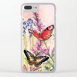 Wild meadow butterflies Clear iPhone Case