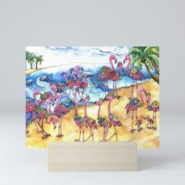 Beach Day for a Flamboyance of Flamingos Mini Art Print