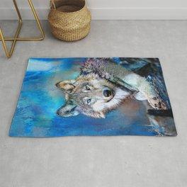 Blue Wolf Wildlife Mixed Media Art Rug