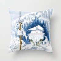 yeti Throw Pillows featuring Yeti by Juan Pablo Cornejo