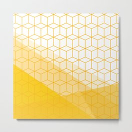 Abstract Geometric 006 - mustard yellow & white Metal Print