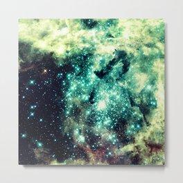 Galaxy Nebula Teal Metal Print