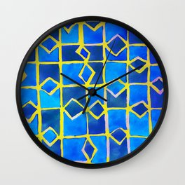 blue abstract pattern Wall Clock