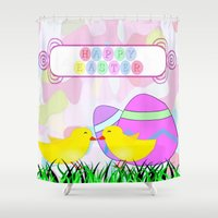 easter Shower Curtains featuring Happy Easter by Elena Indolfi