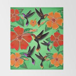 Hummingbird and Hibiscus Batik Pattern Throw Blanket