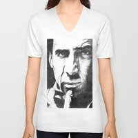cage V-neck T-shirts featuring Nicolas Cage by DeMoose_Art