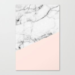 Real White marble Half Salmon Pink Canvas Print