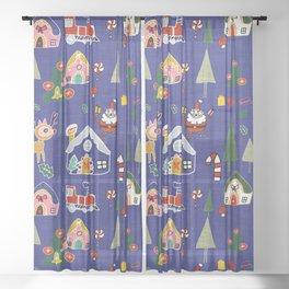 Santa Claus Blue #Christmas #Holiday Sheer Curtain