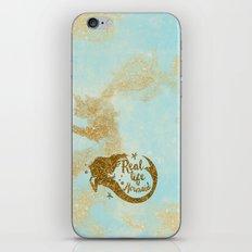 Real life Mermaid - Gold glitter lettering on aqua glittering backround iPhone & iPod Skin