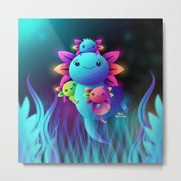 Axolotl Mexicano Metal Print