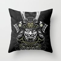 samurai Throw Pillows featuring Samurai by Brewer Arts