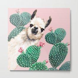 Llama and Cactus Pink Metal Print