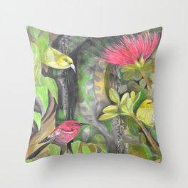 'Amakihi, 'Apapane and Maui 'Alahuio  Throw Pillow