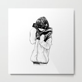 Anime Schoolgirl Metal Print