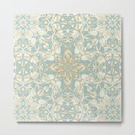 Soft Sage & Cream hand drawn floral pattern Metal Print