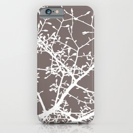 Magnolia Tree Taupe Brown Modern Branches iPhone Case