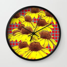DECORATIVE YELLOW CONE FLOWERS ON RED PATTERN ART Wall Clock