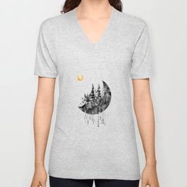 Forest with the Moon and wolf Unisex V-Neck