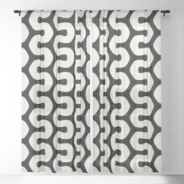 Black & White Geometric Pattern Tribal African Wiggly Lines Cultural Style Funky Cool Sheer Curtain