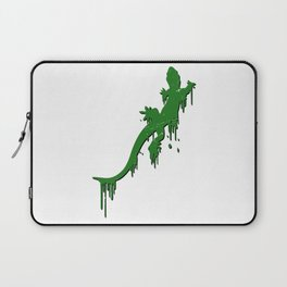 Distressed Green Salamander With Paint Drip Laptop Sleeve