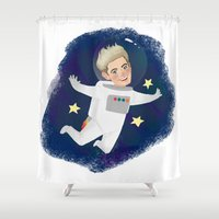 niall horan Shower Curtains featuring Space Niall by Ashley R. Guillory