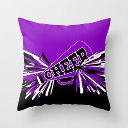 Purple, Black and White Cheerleader Design Throw Pillow