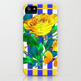 YELLOW SPRING ROSES & BUTTERFLIES WITH LILAC STRIPES iPhone Case