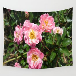 White and Pink Rose Wall Tapestry