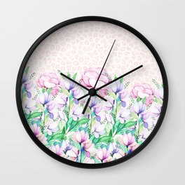 Pastel pink lavender watercolor floral animal print Wall Clock
