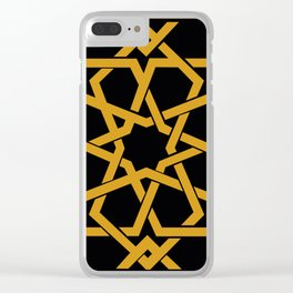 Black and Yellow Islamic Geometric Art Clear iPhone Case