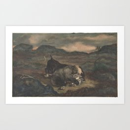 Bear Killing Bull Art Print