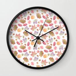 Watercolor Fall Leaves Wall Clock