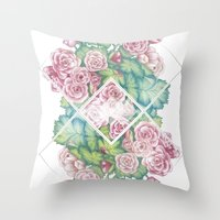 leah flores Throw Pillows featuring Flores by Barlena