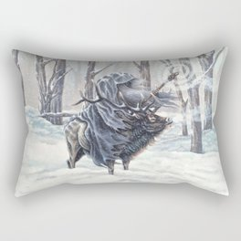 Wizard Riding an Elk in the Snow Rectangular Pillow