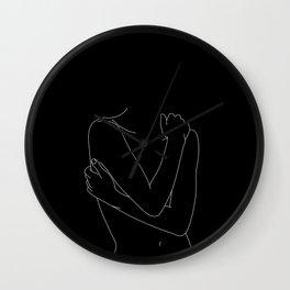 Nude figure line drawing illustration - Emie black Wall Clock