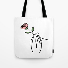 Hand with Rose Tote Bag