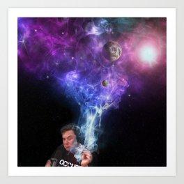 Elon Musk Smoking the Universe Art Print