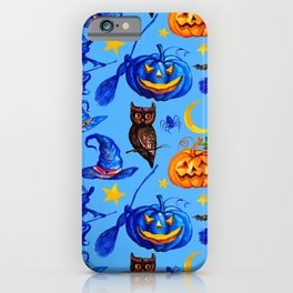 Halloween Jack-o-Lanterns, Witches' Hats & Brooms Pattern iPhone Case