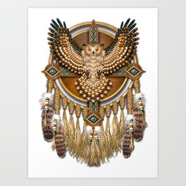 Native American-Style Great Horned Owl Mandala Art Print