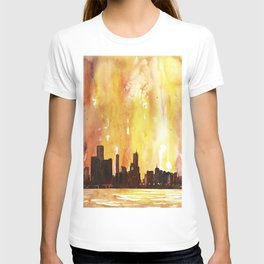 Watercolor painting of downtown Chicago skyline as viewed from Lake Michigan- Chicago, Illinois (USA T-shirt