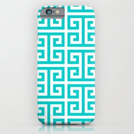 Large Caribbean Blue Greek Key Pattern iPhone Case