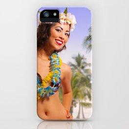 """Aloha"" - The Playful Pinup - Coconut Shell Bikini Pinup Girl by Maxwell H. Johnson iPhone Case"