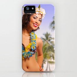 """Aloha"" - The Playful Pinup - Coconut Shell Bikini Pinup Girl by Maxwell H. Johnson iPhone Case"