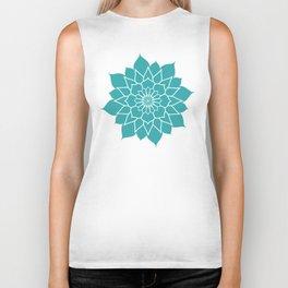 Teal mandala flower, geometrical floral pattern Biker Tank