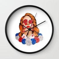 lana Wall Clocks featuring LANA  by Aidan Reece Cawrey