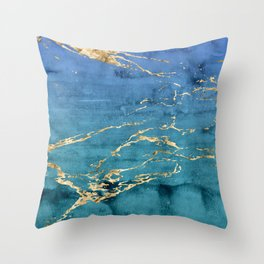 Aqua-Blue Sparse Marble Gradient with Gold Veins Throw Pillow