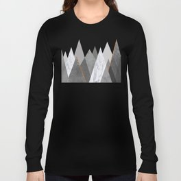 Marble Gray Copper Black and White Mountains Long Sleeve T-shirt